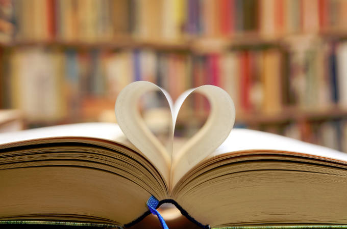Book with page folded in heart shape